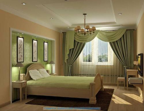 Занавески зеленого цвета в спальню в стиле прованс