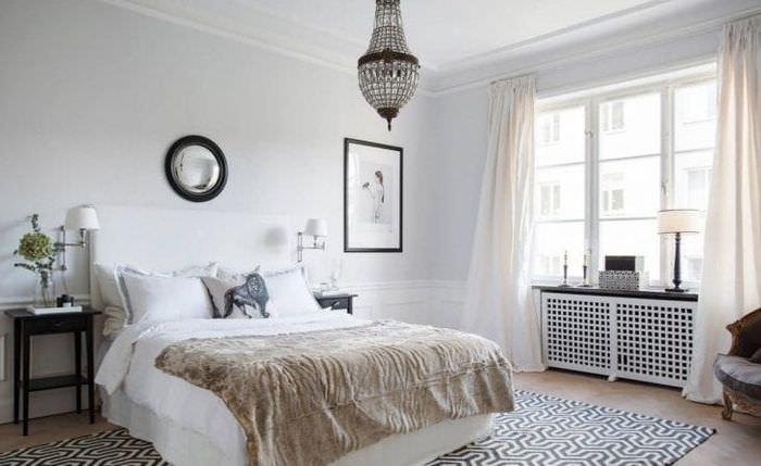Занавески белого цвета в спальню