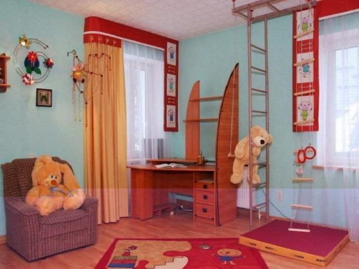 Шторы оранжевого цвета в детскую комнату для мальчика