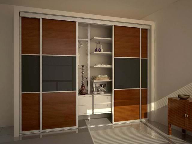 деревянные двери купе для гардеробной