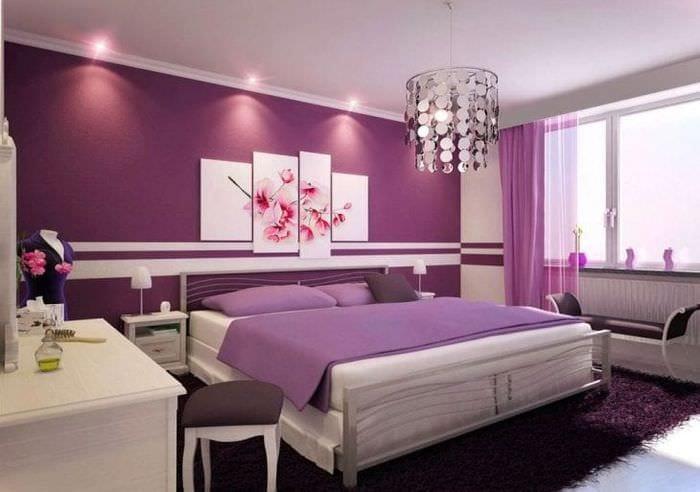 Занавески фиолетового цвета в спальню