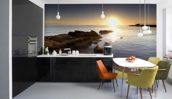 Фотообои с рисунком заката на море для кухни