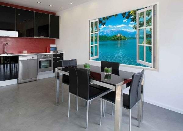 Фотообои с рисунком распахнутого окна для кухни