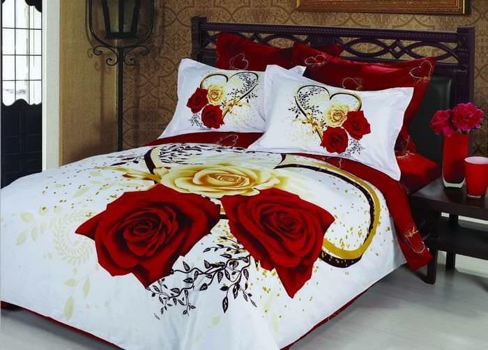 Пример романтического постельного белья размера евро
