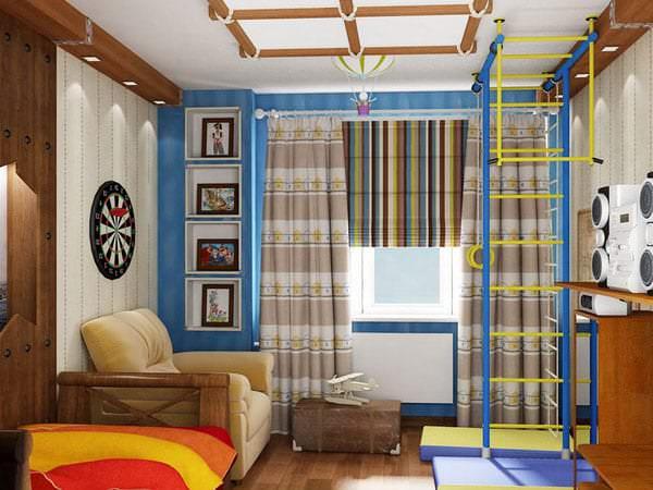 Шторы коричневого цвета в детскую комнату для мальчика