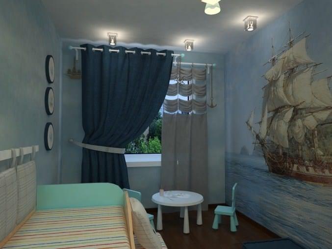 Шторы в морском стиле в детскую комнату для мальчика