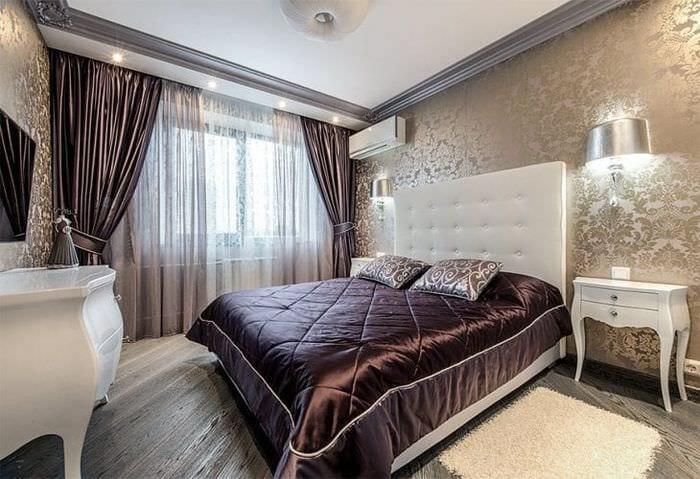 Занавески коричневого цвета в спальню