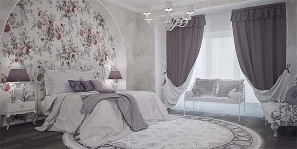 Занавески пастельных тонов в спальню в стиле прованс