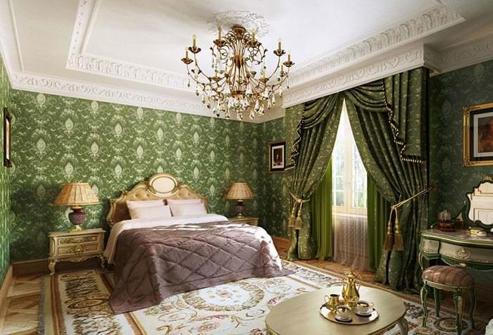 Занавески зеленого цвета в спальню
