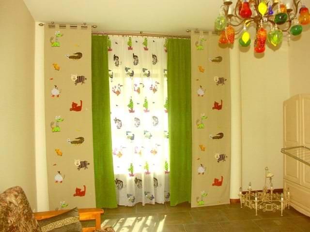 Шторы салатового цвета в детскую комнату для мальчика