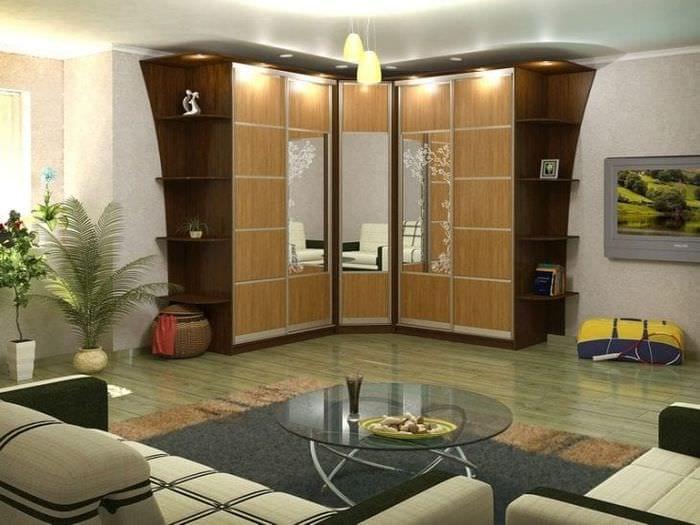 Угловые шкафы купе в гостиную: фото варианты