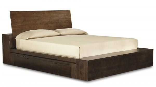 furniture-bedroom-dark-varnished-wooden-low-profile-platform-bed-with-single-side-drawer-wood-queen-bed-frame-with-drawers