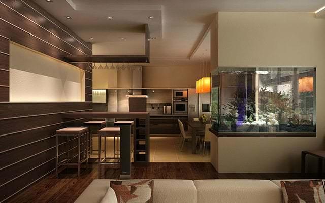 Аквариум и растения в качестве перегородки между гостиной и кухней
