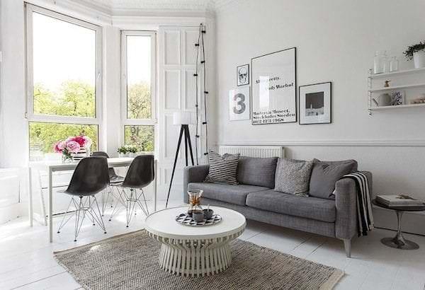 деревянный пол в комнате скандинавского стиля