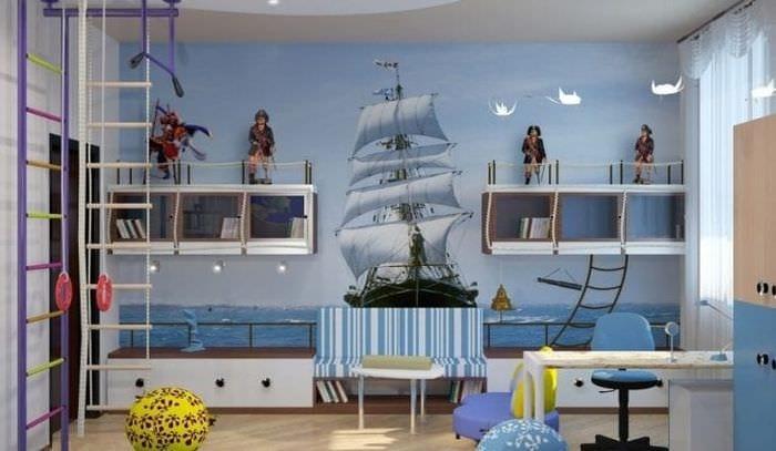 Детская в морском стиле: фото для мальчиков, оформление стен, шторы, текстиль