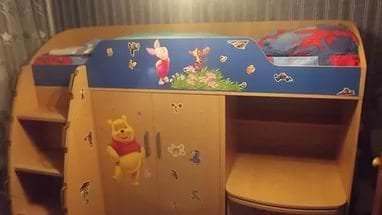 Детская кровать трансформер с встроенным комодом и шкафом для маленькой спальни