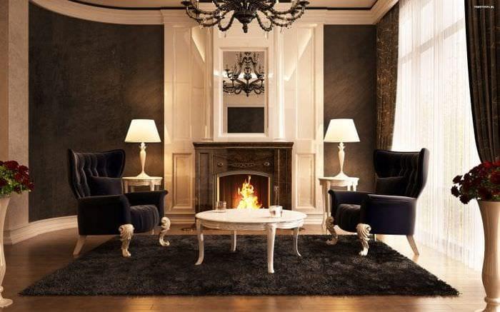 Дизайн камина для строгой гостиной с темной мебелью