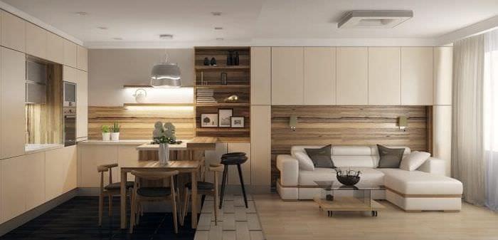Дизайн небольшой кухни-гостиной в строгом стиле