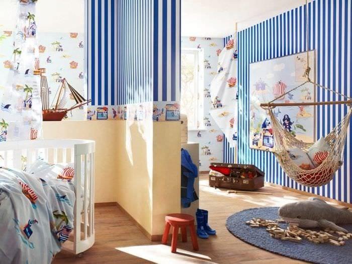 Дизайн обоев для детской комнаты для мальчика в морском стиле