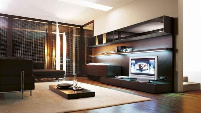Интересный дизайн тумбы под телевизор в классическом стиле