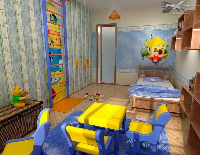Интерьер детской комнаты с яркими акцентами для мальчика
