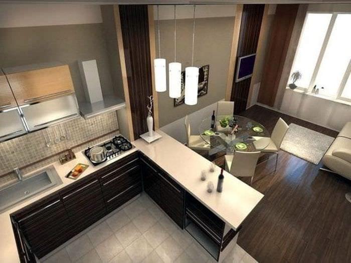 Фото необычного интерьера для кухни-гостиной