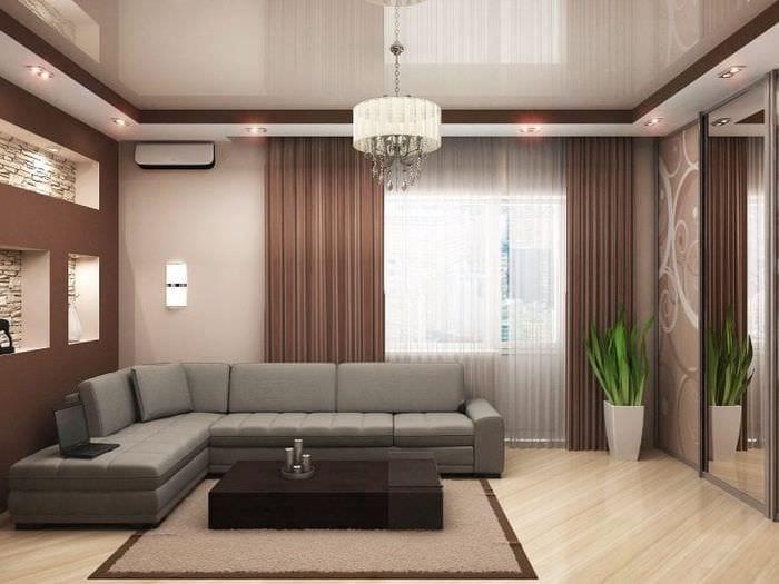 Фото натяжного глянцевого потолка с встроенной подсветкой