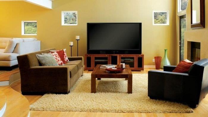 Фото дизайна тумбы под телевизор для большой и просторной комнаты