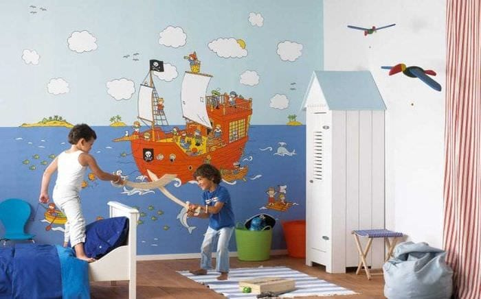 Идея обоев для оформления детской комнаты для мальчика в пиратском стиле