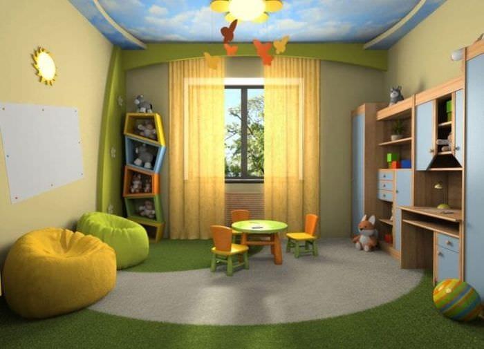 Интерьер детской комнаты в ярких теплых тонах