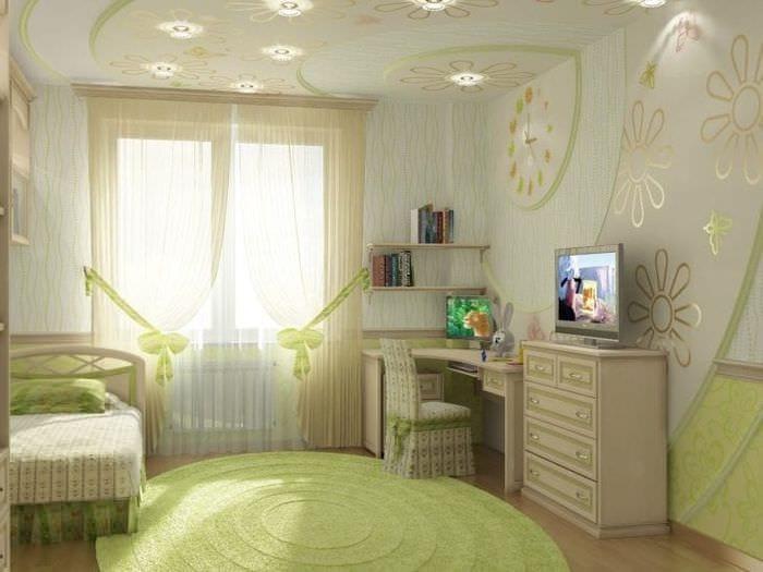Фото дизайна детской комнаты в светлых оттенках