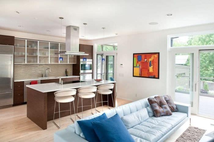 Интерьер большой комнаты с зонами для кухни столовой и гостиной