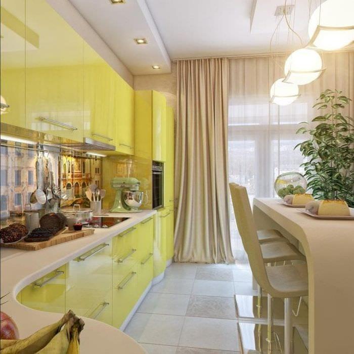 Интерьер небольшой кухни-гостиной в ярком цвете