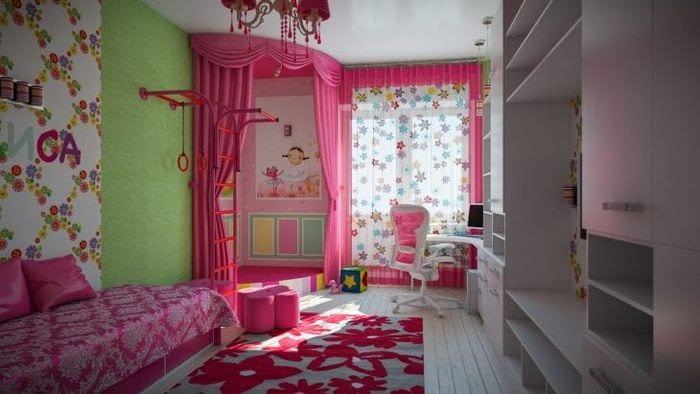 Дизайн обоев детской комнаты для девочек с яркими красными акцентами