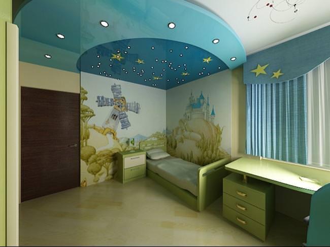 Комбинированный натяжной потолок для современнной детской