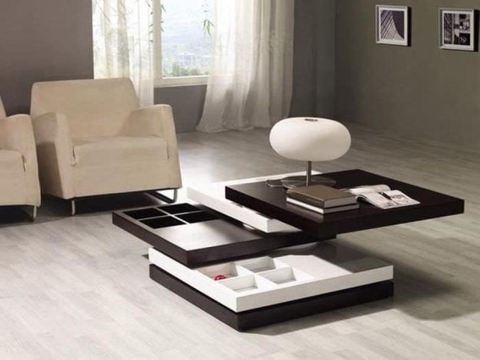 Необычный стол – трансформер для просторной и большой гостиной