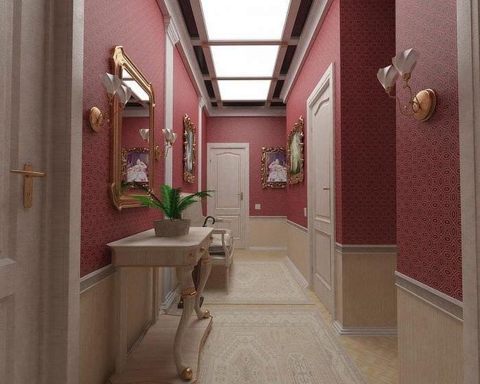 Обои для коридора и прихожей в насыщенном винном цвете