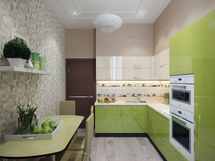 Обои с мозаикой для современной кухни