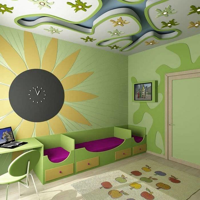Современный стиль в оформлении обоями детской комнаты для мальчика