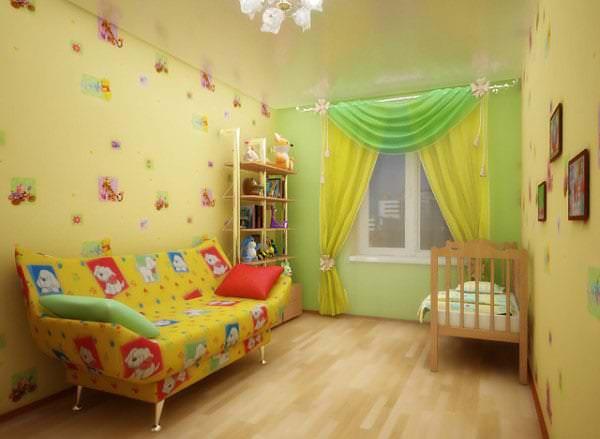 Глянцевый натяжной потолок светлого тона для детской комнаты