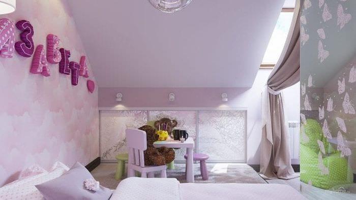 Оригинальный дизайн обоев для небольшой детской комнаты девочки