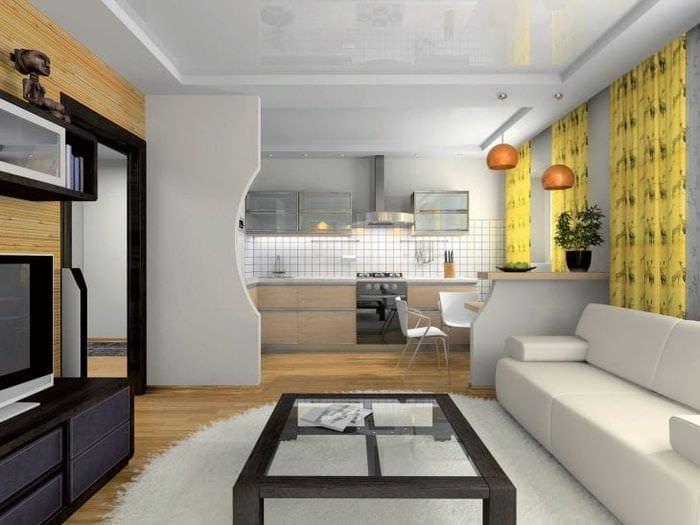 Декор перегородки между кухней и гостиной