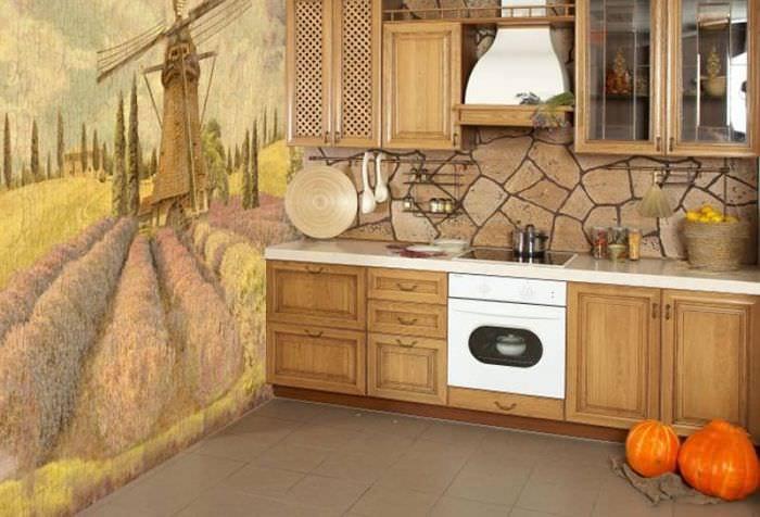 Дизайн обоев для современной кухни в деревенском стиле