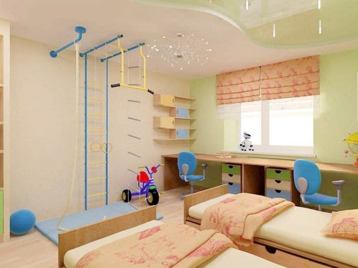 Дизайн глянцевогонатяжного потолка в детской комнате