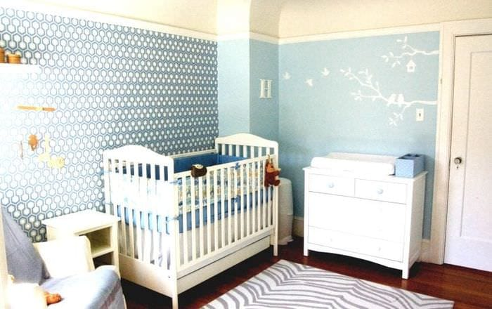 Выбираем обои голубого оттенка для детской комнаты для новорожденного мальчика
