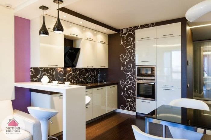Зонированная модная комната 3 в 1 с кухней гостиной и столовой
