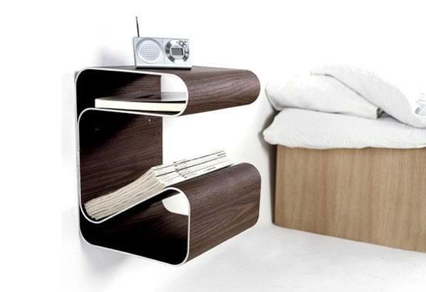 прикроватный столик с изгибами для книг