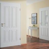 белые двери в интерьере с оттенком шоколадного фото