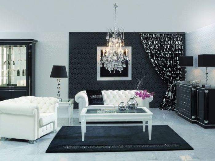 черные обои в интерьере комнаты в стиле гламур