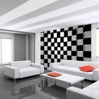 черные обои в интерьере гостиной в стиле гламур фото